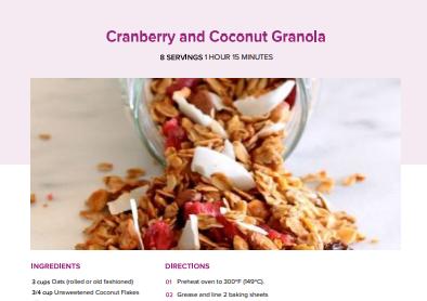 Cranberry & Coconut Granola
